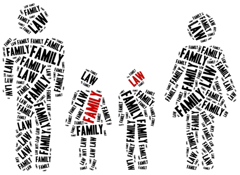 The words Family Law, on the outline of a family, representing the clients served by Family Law lawyer Belal Nagmeddine, who also offers legal services divorce and separation, real estate transactions, civil litigation and wills and estates.